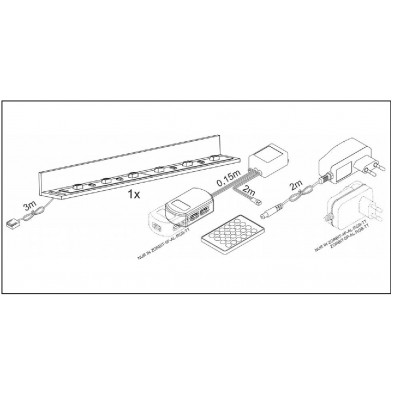 Rail angulaire LED de 121.7 cm de longueur multicolore froid collection Bathford