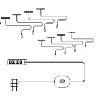 Set de 8 éclairages pour tablette en bois coloris blanc chaud collection Bathford