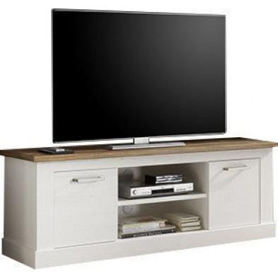 Meuble TV contemporain 2 portes et 2 niches ouvertes coloris blanc et noyer satiné L. 160 x P. 52 x H. 60 cm collection Coulthard