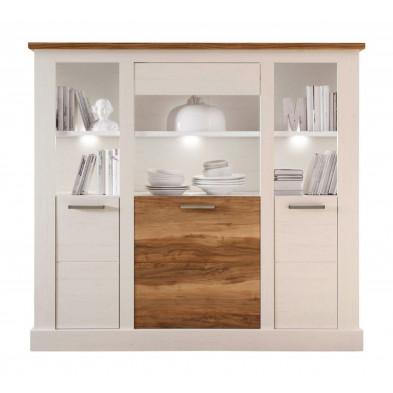 Buffet vitré  3 portes et 4 niches ouvertes coloris blanc et noyer satiné L. 154 x P. 42 x H. 146 cm collection Coulthard