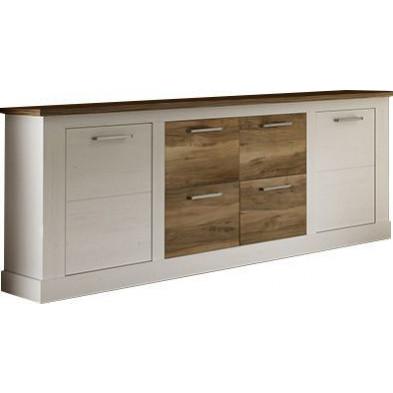 Buffet 2 portes et 4 tiroirs coloris blanc et noyer satiné L. 207 x P. 43 x H. 85 cm collection Coulthard