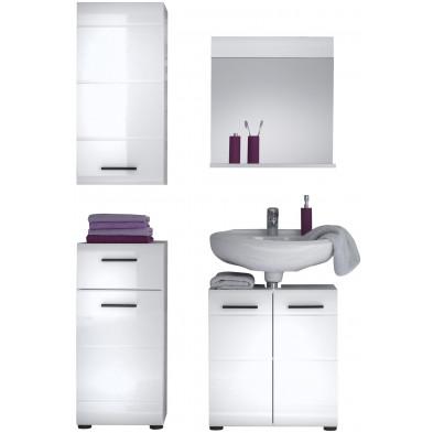 Meubles de salle de bain 4 pièces coloris blanc L. 115 x P. 31 x H. 182 cm collection Zwalm