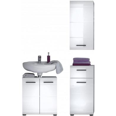 Meubles de salle de bain 3 pièces coloris blanc L. 170 x P. 31 x H. 182 cm collection Zwalm