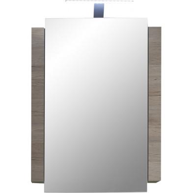 Armoire murale avec miroir à 1 porte et éclairage à LED inclus coloris chêne San Remo L. 60 x P. 15 x H. 80 cm collection Chiuro