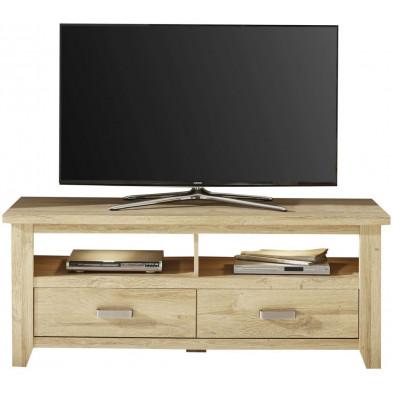 Meuble TV contemporain avec 2 tiroirs et 2 niches ouvertes coloris chêne L 143 x P 48 x H 57 cm collection Trabulheira