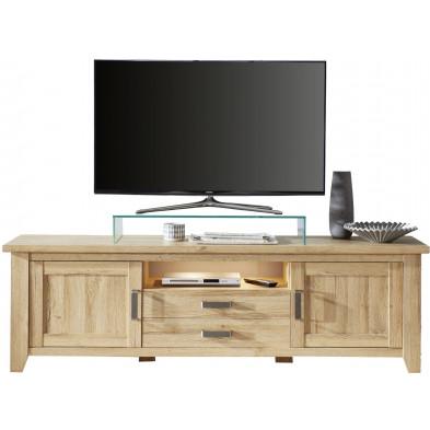 Meuble TV contemporain  2 tiroirs, 2 portes et 1 niche ouverte coloris chêne L. 189 x P. 48 x H. 57 cm collection Trabulheira