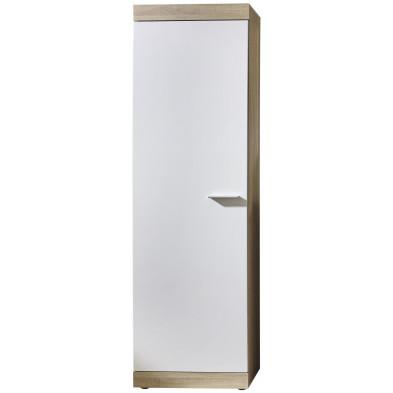 Armoire contemporaine 1 porte coloris blanc et chêne L. 58 x P. 34,5 x H. 194 cm collection Fluffy