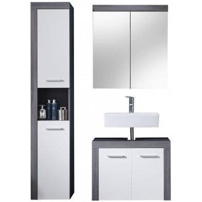 Meubles de salle de bain 3 pièces coloris blanc et gris anthracite L. 123 x P. 34 x H. 184 cm collection Aberfan