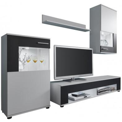 Ensemble meuble TV  avec 1 banc TV, 2 vitrines et 1 étagère coloris blanc et noir L. 229 x P. 39 x H. 175 cm collection Weston