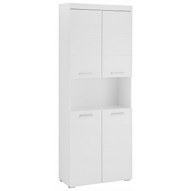 Colonne de rangement à 4 portes et 1 niche coloris blanc L. 73 x P. 31 x H. 190 cm collection Mayla