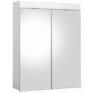Armoire murale pour salle de bain avec miroir à 2 portes coloris blanc L. 60 x P. 17 x H. 77 cm collection Mayla