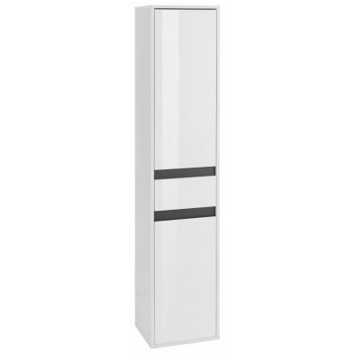 Colonne de rangement 2 portes et 1 tiroir coloris blanc L. 35 x P. 31 x H. 172 cm collection Sluis