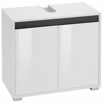 Meuble sous vasque 2 portes coloris blanc  L. 67 x P. 36 x H. 60 cm collection Sluis