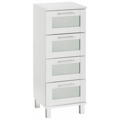 Armoire de rangement pour salle de bain 4 tiroirs coloris blanc L. 35 x P. 33 x H. 89 cm collection Horsman