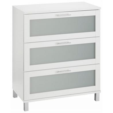 Armoire de rangement pour salle de bain 3 tiroirs coloris blanc L. 70 x P. 41 x H. 89 cm collection Horsman