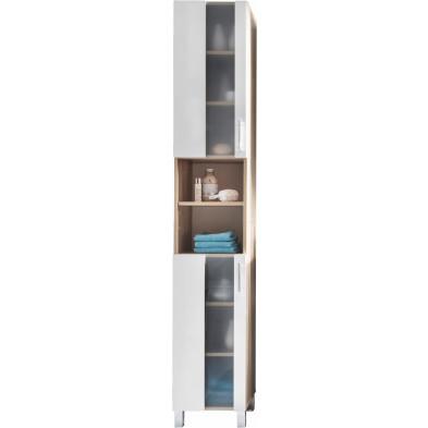 Colonne de rangement 2 portes et 2 niches coloris chêne Sagerau et blanc L. 33 x P. 31 x H. 191 cm collection Cheriton