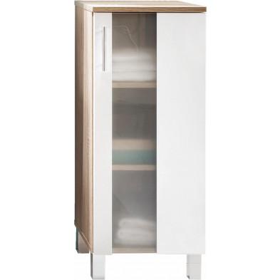 Armoire de rangement pour salle de bain 1 porte coloris chêne Sagerau et blanc L. 33 x P. 31 x H. 80 cm collection Cheriton