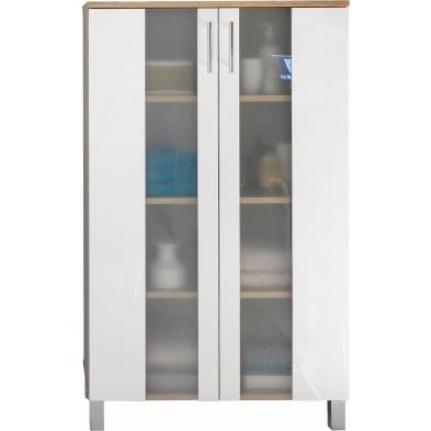Armoire de rangement pour salle de bain 2 portes coloris chêne Sagerau et blanc L. 65 x P. 31 x H. 109 cm collection Cheriton