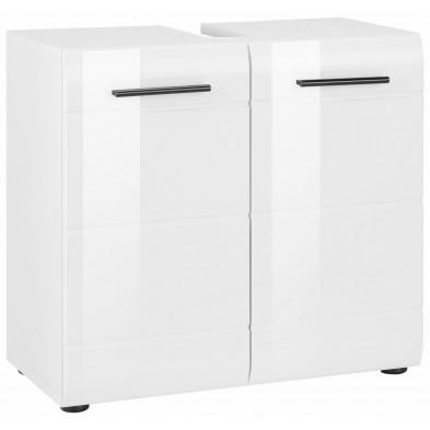 Meuble sous vasque 2 portes coloris blanc L. 60 x P. 31 x H. 56 cm collection Zwalm