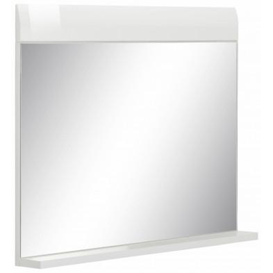 Miroir de salle de bain avec tablette en aggloméré coloris blanc L. 60 x P. 10 x H. 55 cm collection Zwalm