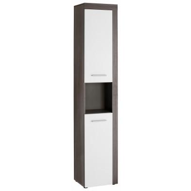 Colonne de rangement pour salle de bain design coloris blanc et gris anthracite L. 36 x P. 31 x H. 184 cm collection Aberfan