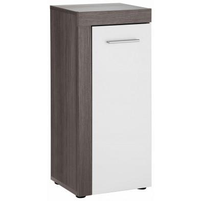 Armoire de rangement pour salle de bain 1 porte coloris gris cendré et blanc mélaminé L. 36 x P. 31 x H. 81 cm collection Aberfan