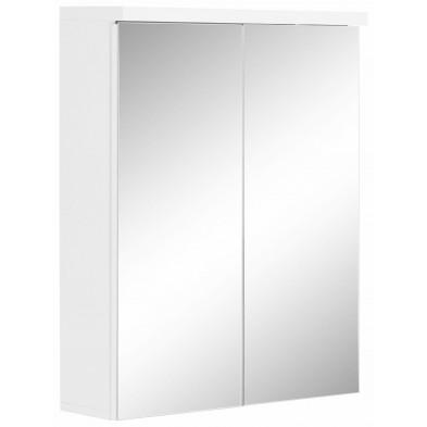 Armoire murale avec miroir à 2 portes coloris blanc L. 65 x P. 21 x H. 80 cm collection Klaaswaal