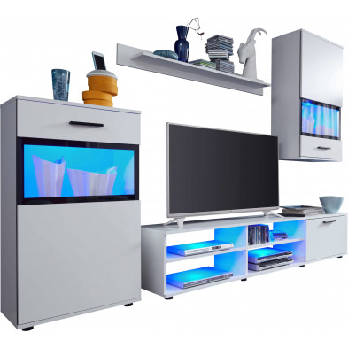 Ensemble meuble TV avec 1 banc TV , 2 vitrines avec éclairage et 1 étagère coloris blanc brillant L. 231 x P. 38 x H. 182 cm collection Malak