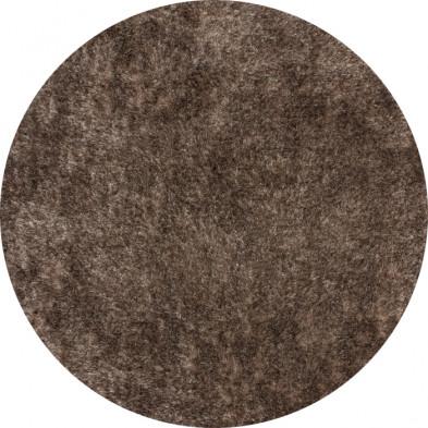 Tapis shaggy moderne coloris marron avec des motifs uni L. 160 x P. 160 x H. 5 cm Collection Wailuku