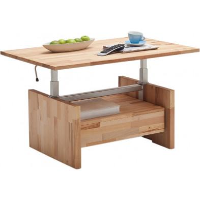 Table basse relevable avec 1 tiroir en bois chêne massif  L. 110 x P. 70 x H. 51 cm collection Rosalinda