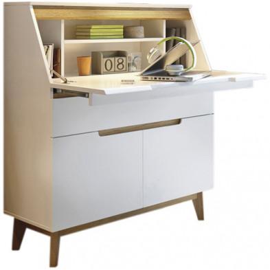 Bureau blanc design Scandinave en Bois mdf et piètement en bois hêtre L. 97 x P. 40 x H. 113 cm collection Vanloenen