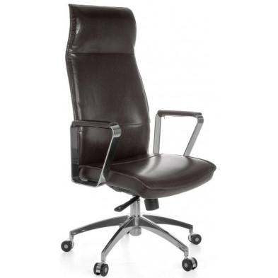 Chaise et fauteuil de bureau marron design en cuir véritable L. 61 x H. 118 - 127 cm x P. 54 cm collection Vivy