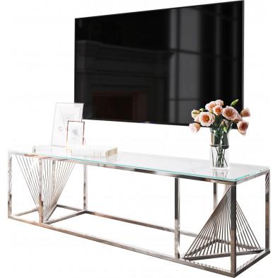 Meuble tv design en acier inoxydable poli argenté et verre trempé L. 160 x P. 45 x H. 45 cm collection BOLZANO
