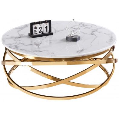 Table basse design rond avec piètement en acier inoxydable poli doré et plateau en marbre artificiel blanc L. 100 x H. 43 cm collection ENRICO