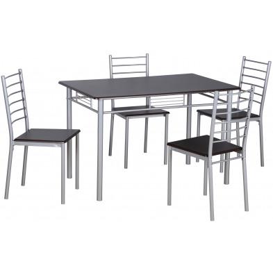 Ensemble de table à manger avec ses 4 chaises en MDF et métal coloris noir et argent L. 120 x P. 75 x H. 76 cm collection Konstantin