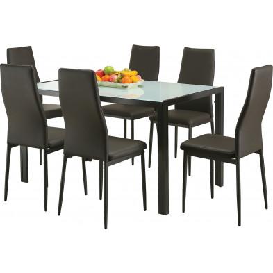 Ensemble de table à manger avec ses 6 chaises en verre et métal coloris gris L. 133 x P. 75 x H. 80 cm collection Nose