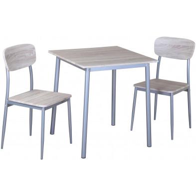 Ensemble de table à manger carrée avec ses 2 chaises en MDF et métal coloris chêne Sonoma L. 70 x P. 70 x H. 76 cm collection Duguay
