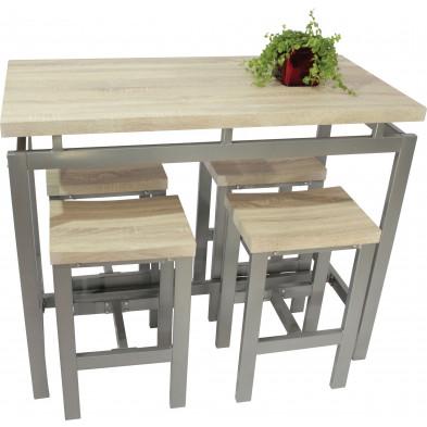Ensemble de table de bar avec ses 4 tabourets en MDF et métal coloris beige et gris L. 120 x P. 60 x H. 95.6 cm collection Recite