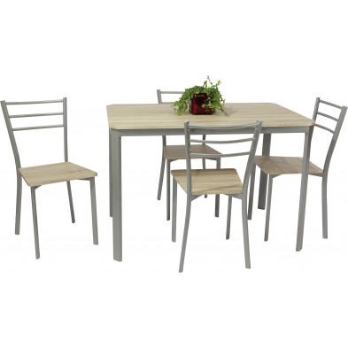 Ensemble de table à manger avec ses 4 chaises en MDF et métal coloris gris Sonoma L. 110 x P. 70 x H. 75 cm collection Ware