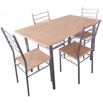 Ensemble de table à manger avec ses 4 chaises en MDF et métal coloris naturel et gris L. 120 x P. 70 x H. 75 cm collection Remake