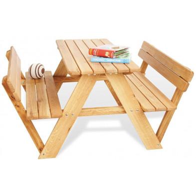 Lot de table de jardin à 4 places et 2 bancs avec dossier en chêne massif coloris naturel L. 90 x P. 100 x H. 50 cm collection Polak