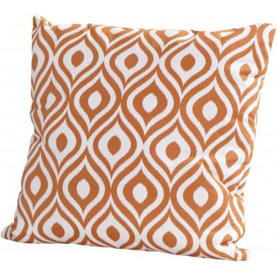 Coussin décoratif de jardin coloris orange L. 50 x H. 50 cm collection Kalmthout
