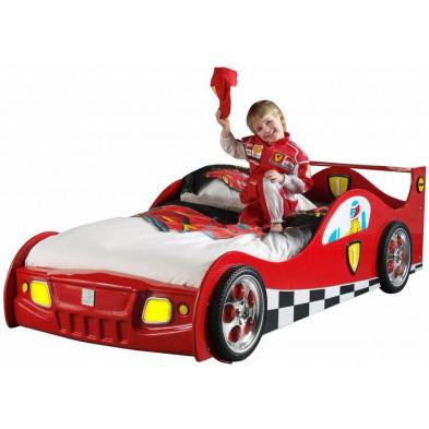 Lit voiture rouge design en bois mdf L. 210 x P. 95 x H. 60 cm collection Huon