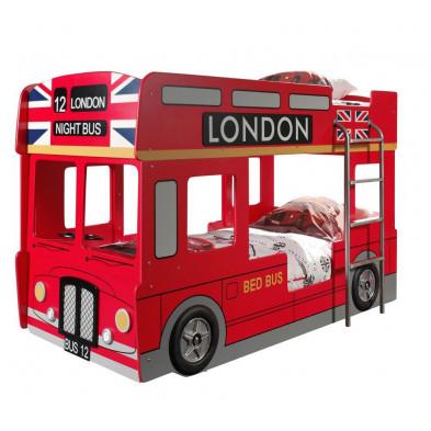 Lit voiture rouge design en bois mdf L. 215 x P. 99 x H. 132 cm collection Huon