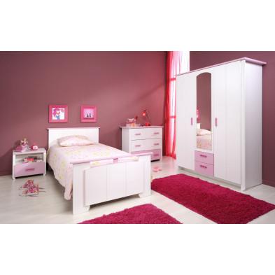 Chambre enfant contemporaine blanc et rose en panneaux de particules de haute qualité Collection Slink