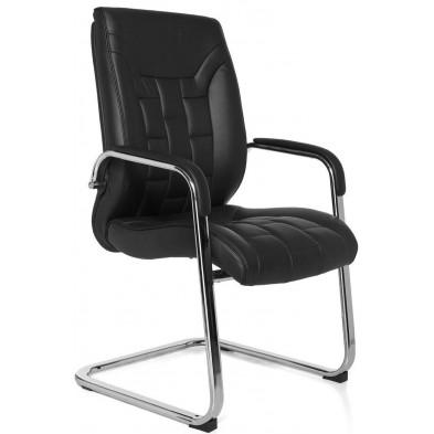 Chaise de bureau noir design en cuir véritable L. 58 x P. 58 x H. 102 cm collection Moye