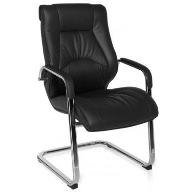 Chaise d'attente noir design en cuir véritable H.100 x L.58 x P.68 cm collection Team