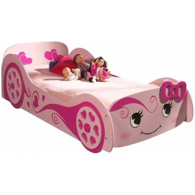 Lit voiture rose design en bois mdf L. 213 x P. 68 x H. 101 cm collection Huon