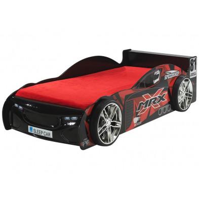 Lit voiture noir design en bois mdf L. 218 x P. 111 x H. 56 cm collection Huon