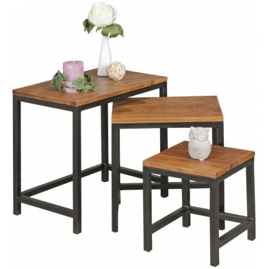 Table d'appoint marron contemporain en acier L. 45 x P. 30 x H. 45 cm collection Llangattock